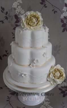 Vintage lace and blossoms wedding cake by Celebration Cakes by Celeste (7/21/2012)  View cake details here: http://cakesdecor.com/cakes/22428