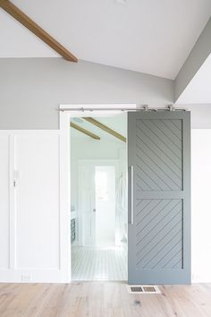 black handles and light Custom Made Cypress Chevron Farmhouse Sliding Barn Door Chevron Door, Gray Chevron, Barn Door Designs, Barn Style Doors, Grey Doors, Home Office Decor, Home Decor, Office Ideas, Modern Barn
