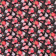 black patterned Asia flower poplin fabric from Japan 2