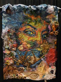 "Quilt Inspiration: Best of the 2014 Pacific International Quilt Festival - ""Peeking In"" by Anne Mari Miro Fiber Art Quilts, Textile Fiber Art, Art Quilting, Collage Art, Collages, International Quilt Festival, Dragonfly Art, Thread Painting, Landscape Quilts"