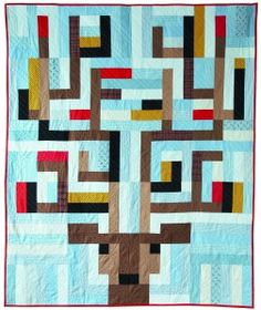 """""""Quilt In the Headlights"""" I like the idea of this one for Christmas with bulbs around the antlers."""