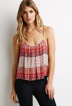 Pleated Ornate Print Cami | Forever 21 - 2000097148