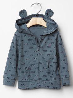Eyeglass bear hoodie