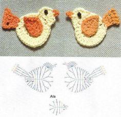 Risultati immagini per apliques en crochet patrones Crochet Butterfly, Crochet Birds, Crochet Flower Patterns, Crochet Flowers, Crochet Toys, Crochet Baby, Crochet Diagram, Crochet Chart, Crochet Motif