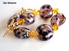 Purple Spot Lampwork Bead Bracelet Yellow Swarovski Crystals Handmade | bluemorningexpressions - Jewelry on ArtFire
