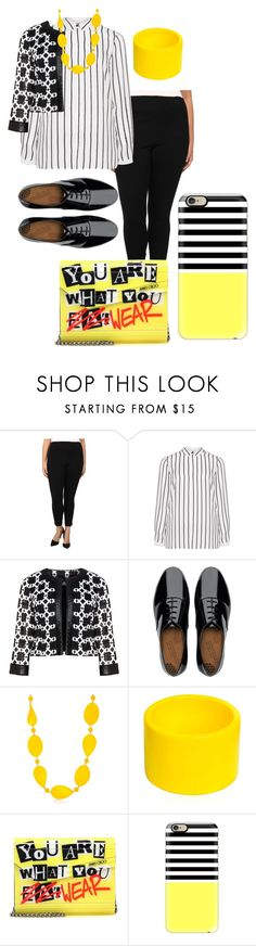 """""""plus size work"""" by aleger-1 ❤ liked on Polyvore featuring Lyssé Leggings, Jette, Tia, FitFlop, Kim Rogers, Dsquared2, Jimmy Choo and Casetify"""