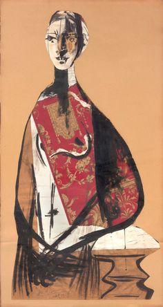 * Portrait d'une dame - Picasso 1928 (gouache encre et collage) il représenterait Natalie Paley un mannequin renommé de l'entre-deux guerres.