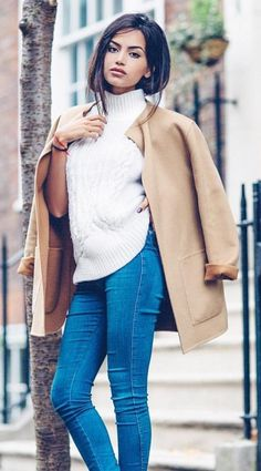 #winter #outfits /  White Turtleneck // Camel Coat // Skinny Jeans