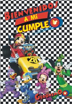 Mickey Mouse and the roadster racers Mickey Birthday, Mickey Party, Mini Mouse, Roadster, Geronimo, Banner, Baby Shower, Disney, Bob