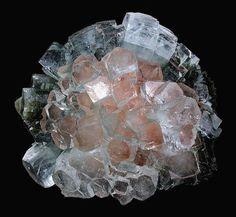 """Apophyllite """"disco ball"""" crystals over Pink Stilbite."""