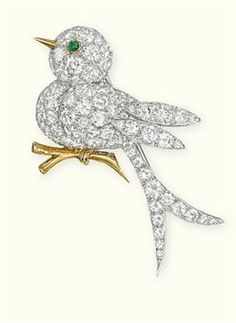 A DIAMOND BIRD BROOCH, BY VAN CLEEF & ARPELS