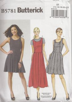 Butterick B5781, Sewing Pattern, Misses' Dress, Size 14, 16, 18, 20, Out Of Print