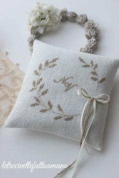 Ring Bearer Pillows, Ring Pillows, Cross Stitch Pillow, Just Cross Stitch, Small Cushions, Wedding Cross, Lavender Bags, Ring Pillow Wedding, Modern Cross Stitch Patterns
