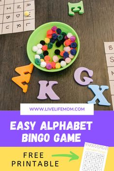Teach your toddler the alphabet with this easy Alphabet Bingo game. The post includes 2 levels of free printable bingo cards. Toddler Alphabet, Alphabet Bingo, Alphabet For Toddlers, Learning The Alphabet, Alphabet Activities, Infant Activities, Preschool Literacy, Bingo Games, Literacy Activities