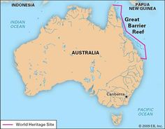 Great Barrier Reef, off the northeastern coast of Australia, designated a World Heritage site in 1981.