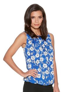 M&Co. Women Floral bow back shell top