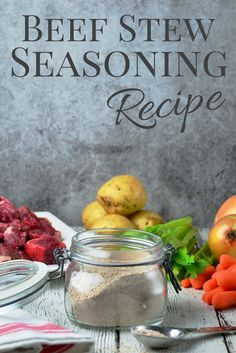 Season your stew meat with Beef Stew Seasoning Mix before you brown it. The blend of herbs and spices adds flavor and the flour will thicken your favorite beef stew recipe. Homemade Dry Mixes, Homemade Spices, Homemade Seasonings, Beef Stew Seasoning, Seasoning Mixes, Vegetable Soup Seasoning, Seafood Seasoning, Beef Recipes, Cooking Recipes