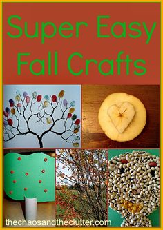 Super Easy Fall Crafts with household items Classic crafts, bird feeders, apple stamps, bean/lentil art! Easy Fall Crafts, Fall Crafts For Kids, Fun Crafts, Nature Crafts, Paper Crafts, Autumn Activities For Kids, Craft Activities, Halloween Crafts, Holiday Crafts