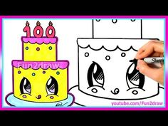 How To Draw and Color a Cute Cake Easy - 100 Million Views Celebration - Fun2draw - YouTube