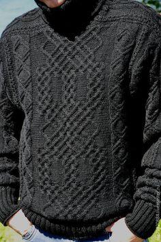 "Купить Теплый мужской свитер из шерсти ""Узорчатый"" - черный, орнамент, мужской подарок, мужской свитер Sweater Hat, Cable Sweater, Sweater Fashion, Cable Knitting, Knitting Needles, Knitting Designs, Crochet Designs, Knitting Patterns, Knit Or Crochet"