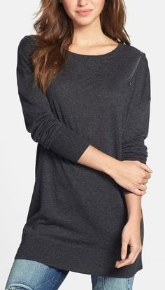 Caslon® Zip Shoulder Crewneck Tunic Sweater (Regular & Petite) available at - bought this in charcoal and love it Look Fashion, Fashion Outfits, Womens Fashion, Cool Outfits, Casual Outfits, Winter Outfits, Stitch Fit, Tunic Sweater, Loose Sweater