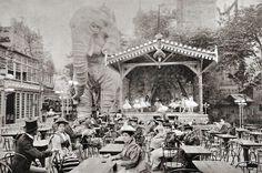Elephants in the garden in Moulin Rouge, Paris c. 1900