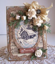 Grungy Dreamy Winter Card...with glittered trim & creamy flowers & bow...Artistic Outpost stamps.