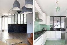 Une alternative à la cuisine américaine : la verrière qui sépare la cuisine de la salle à manger ou du salon !