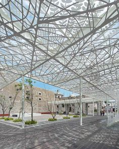 Photo of Perforated metal canopy casts shadows at Aguascalientes, Mexico