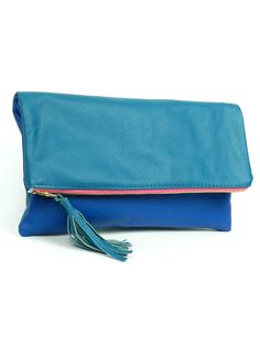 Teal and Royal Colorblock Fold Over Clutch with by kslademade, $78.00