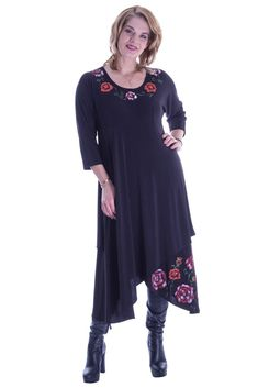 Black jerse dress Big Size Fashion, Plus Size Stores, Plus Size Women, Plus Size Outfits, Tunic Tops, Knitting, Collection, Dresses, Tricot