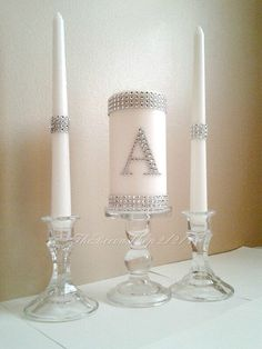 Unity Candle Set Silver Bling Monogram Wedding White Unity Candle Set Elegant Wedding Candle Set. $34.95, via Etsy.