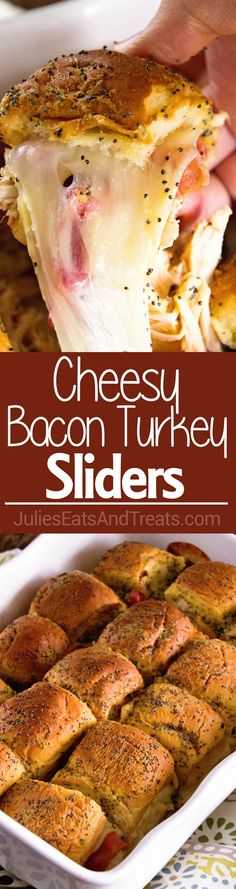 Cheesy Bacon Turkey Sliders ~ Quick and Easy Game Day Appetizer or Meal! Perfect for Using up Leftover Turkey too! Slider Buns Loaded with Turkey, Bacon, and Cheese!! via @julieseats
