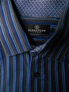 Men s Bugatchi Uomo Size L Button Shirt Dark Color Stripes Contrast Cuffs  Cotton f667b61542f