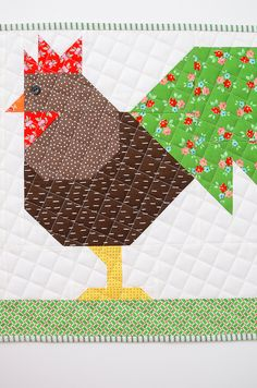 The Chicken Family Easter Quilt Table Runner is the perfect decoration for brunch on Easter Sunday - find the free tutorial & pattern add-on here! Farm Animal Quilt, Farm Quilt, Barn Quilt Patterns, Pattern Blocks, Rug Patterns, Quilting Patterns, Sewing Patterns, Diy Craft Projects, Sewing Projects