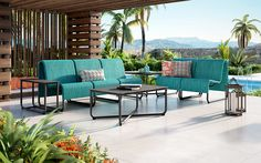 Omega Aluminum + Stretch Sling Sectional Outdoor Sofa & Lounge Chair Collection