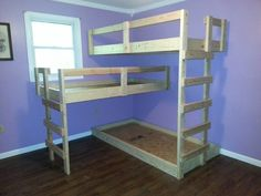 diy triple bunk bed but make it sturdy and stand alone perfect for when the kids are older and more plentiful