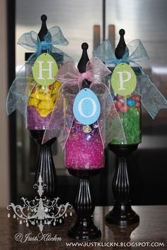 Candy filled Easter jars.
