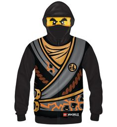 Lego Ninjago Spinjitzu Boys Black Zip Up Costume Hoodie with Attached Face  Mask eacf2da5f5d