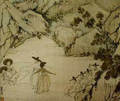 (Korea) 납량만흥 by Shin Yun-bok (1758-?). ca 18th century CE. colors on hanji. National Treasures No.135. Gansong gallery, Korea. 혜원풍속도첩. 납량만흥.