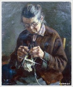 """"""" Tejiendo regalo para el nieto """" Yulia V. Razumovskaya (1896-1987 ) Pintora rusa"""