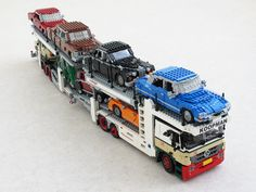 LEGO cars on the move Mercedes Actros car transporter by Mad physicist Train Lego, Lego Trains, Lego Cars, Lego Truck, Lego Autos, Lego Poster, Mercedes Actros, Lego Mini, Technique Lego