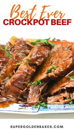 This Slow Cooker Roast Beef (a.k.a Crockpot Roast Beef) will be become your favourite Sunday Roast – incredibly tender slow cooked beef in a rich gravy. 10/10 for flavour and almost zero effort! Healthy Crockpot Recipes, Slow Cooker Recipes, Cooking Recipes, Slow Cook Beef Recipes, Easy Steak Recipes, Freezer Cooking, Healthy Dinners, Grilling Recipes, Slow Cooker Roast Beef