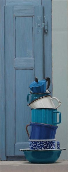 blue - door - still life - painting - Paolo Quaresima Painting Still Life, Still Life Art, Love Blue, Blue And White, Hyper Realistic Paintings, Modern Paintings, My Favorite Color, Painting Inspiration, Shades Of Blue