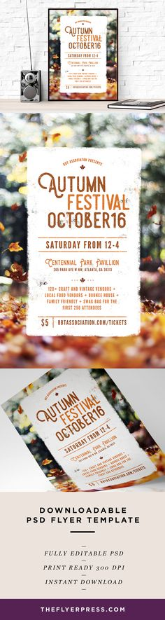Fall Festival Flyer Template by aleenahkhan on @creativemarket
