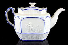 ANTIQUE CASTLEFORD TEAPOT MOULDED RELIEF TORCH LIGHTING PUTTO & LION C.1810 #TeaPots