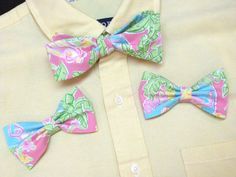 Father/son bow ties. The mens is a freestyle and the little fellas has an adjustable velcro neckband in a cute micro mini lime green check!