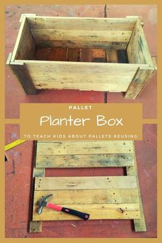 This planter box is a simple structure made only with repurposed pallet wood. To build it, I've used 6 pallet planks measuring approximately 35 cm Wood Pallet Planters, Pallet Boxes, Diy Planter Box, Wood Pallet Furniture, Pallet Wood, Pallet Patio, Pallet Bar, Pallet Shelves, Garden Furniture