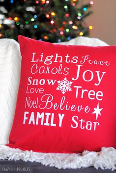DIY Christmas Throw Pillow made with Cricut Explore -- Crazy Little Projects. #DesignSpaceStar Round 4