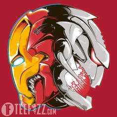 """Coming Of Age"" is a T-Shirt design showing the yin and yang of Iron man and Ultron from Marvel comics, who were both featured in 2015's Avengers: Age of Ultron. Get yours at: http://www.teefizz.com/product/coming-age/ #IronMan #Ultron #Marvel #Comic #ComicBook #Movie #Avengers #Superhero #Mashup #Action #TShirt #Shirt #TeeShirt #Clothing #Nerd #PopCulture"